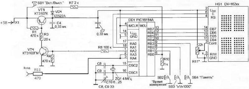 Мой Частотомер на микроконтроллере 16F84, журнал РАДИО 10 2002 год.  Немного изменил формирователь, что повысило...